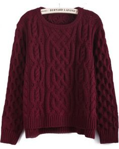 { Wine Red Long Sleeve Cable Knit Dipped Hem Sweater }