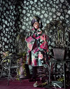 """For the Dazed & Confused November 2012 issue, Jeff Bark photographed 91-year old fashion guru, Iris Apfel. Shot in Apfel's Manhattan home, stylist Robbie Spencer and photographer Jeff Bark's channel Apfel's """"zen-meets-baroque style"""" in this alluring editorial."""