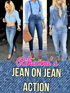 via www.girlratesworld.com the latest fashion trend #denim overalls, jumpers and rompers #rihanna