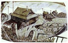 'Over The Wall' wood engraving by Neil Bousfield 195 x 120 mm #OverTheWall #neilbousfield #woodengraving #printmaking #Norfolk #coast #art