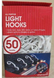 25 Clips//Package 3900991040 Nail on Light Clip Hang Christmas Lights 12Pk