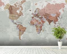 Executive Political World Map wallpaper mural room setting