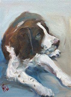 "Daily Paintworks - ""Springer Pup"" - Original Fine Art for Sale - © H.F. Wallen"