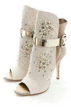 #WomensShoes:Giuseppe Zanotti Yasemin Aksu...Gorgeous Embellished Cream Peep-Toe Bootie.