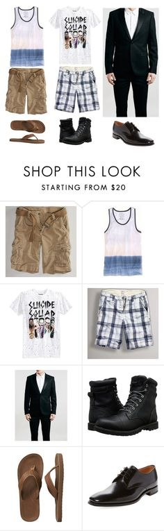 """""""Jake's three outfits"""" by miaagustus ❤ liked on Polyvore featuring American Eagle Outfitters, Bioworld, Timberland, Gap, Loake, men's fashion and menswear"""