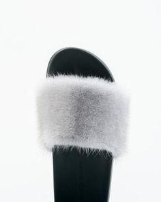 Details about  /White//Black-Women/'s Slides Real Mink Fur Slippers Sandals Indoor Outdoor Shoes