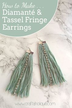 How to make diamante and tassel fringe earrings using embroid… Earrings tutorial! How to make diamante and tassel fringe earrings using embroidery thread, cupchain and flat ribbon end findings! Read more… Fringe Earrings, Leather Earrings, Beaded Earrings, Diy Tassel Earrings, Diy Thread Earrings, Flower Earrings, Crochet Earrings, Diy Schmuck, Schmuck Design