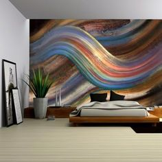 Wall - abstract painting showing a symbolic alternating scenery - removable wall mural self-adhesive large wallpaper - x inches - Bedroom Wall, Bedroom Decor, Bedroom Ideas, Wall Designs For Bedroom, Bedroom Colors, Master Bedroom, 3d Wanddekor, Home Interior, Interior Design