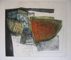 'Deconstruction II' carborundum print by Peter Wray. Collages, Collagraph Printmaking, Contemporary Printmaking, Print Print, Etchings, Textile Art, Painting & Drawing, 2d, Composition
