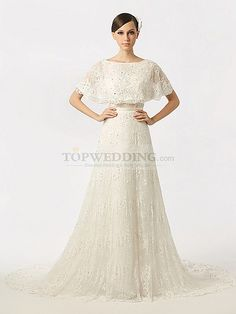 Batwing Inspired Top Featured Lace Bridal Gown with Backless Design