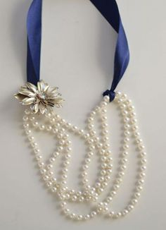 This ribbon-and-pearl necklace is so simple, you'll wish you'd thought of it years ago. #DIY #Fashion