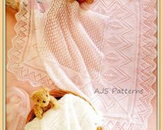 PDF Knitting Pattern for a Pretty Baby Shawl in 3 or 4 ply Wool - Instant Download