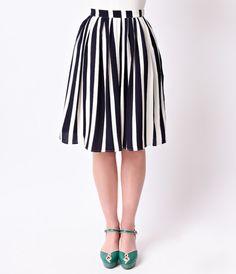 Retro Style Navy & White Stripe High Waist Circle Skirt