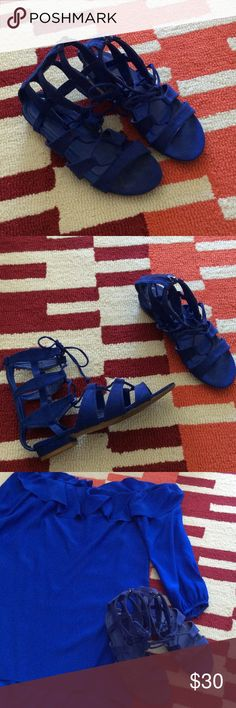 Vibrant cobalt blue lace up suede sandal. Fun and flirty bright blue sandal. Great transition to fall. Back Zip for easier access. Not too high, so doesn't cut your leg off. Style with off the shoulder mini, or jeans. Shoe Dazzle Shoes Sandals