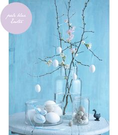 Pastel Easter (Instructions: Hang small flowers & eggs from twigs in vase.)