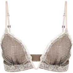 La Perla Khaki silk crêpe triangle V-bra with frastaglio embroidery ($495) ❤ liked on Polyvore featuring intimates, bras, silk lingerie, pure silk bras, la perla bra, silk bra and triangle bras