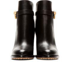 Valentino Black Leather Unicorn Buckle Boots
