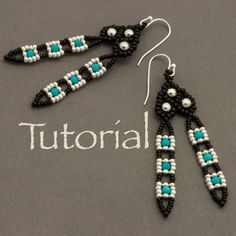 Seed bead and Turquoise Earring Tutorial Tail Feathers Long Tassel Earrings, Tiny Earrings, Seed Bead Earrings, Pendant Earrings, Crystal Earrings, Seed Beads, Beaded Earrings Patterns, Beaded Bracelets, Bead Patterns
