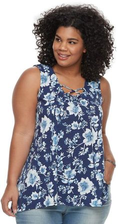 b15ca1d16d926 A floral pattern and a lace-up neckline adds plenty of feminine style to  this SONOMA Goods for Life tank top.