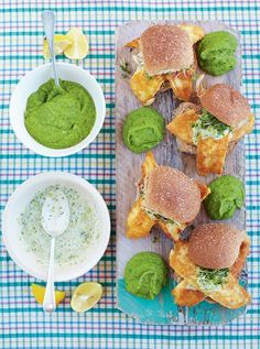 Jamie's fresh fish burgers with minty pea purée and tartare sauce