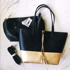 Valerie Stevens Black and Gold Reversible Tote+Bag Two in One, Bag in a Bag. Large gold and black reversible tote with small black bag and shoulder strap. Fantastic bags! Perfect condition. Valerie Stevens Bags Totes