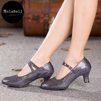 Grey  Color Pure color sequins Adult Mid Heel Latin Modern Dance Shoes Women's Ballroom Dancing Soft Comfortable