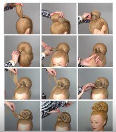 Rose bollo Peinado Tutorial |