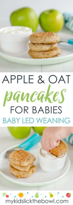 Baby pancakes made with apple and oat, perfect for baby led weaning, wheat free, egg free, refined sugar free #babyledweaning #healthykidssnack #nutricioninfantil