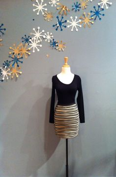 Black/Cream Stripe Skirt by YA $38.00