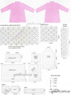 схемы вязания пальто для девочки крючком