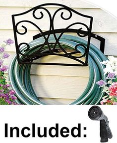 Garden Hose Holder   Decorative Black Metal Wall Mount Hanger Rack  Including Spray Nozzle Quality Choices
