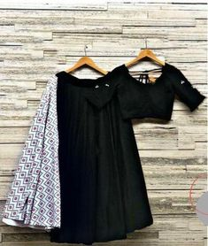 Exclusive designer black color rayon lehenga with Black silk blouse for Indian wedding lehenga choli crop top by Swaradesigner on Etsy Garba Dress, Navratri Dress, Chaniya Choli For Navratri, Dress Indian Style, Indian Dresses, Indian Outfits, Black Lehenga, Indian Lehenga, Choli Designs