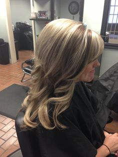 Blonde hair and beauty. Layers. Pop of brown!