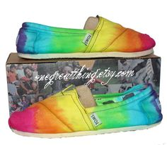 TOMS Tie Dye Shoes - Summer Fashion Staple - BRIGHT colors - hand dyed and custom made by One Great | via Etsy.