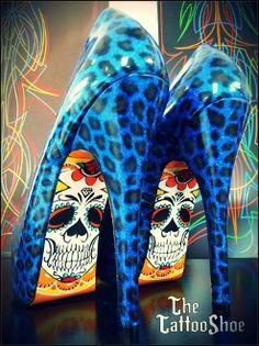 Hot hot hot! Blue Leopard Custom Skeleton Heels by Tattoo Shoe