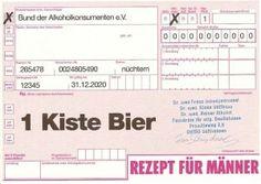 Postkarte - Rezept über 1 Kiste Bier