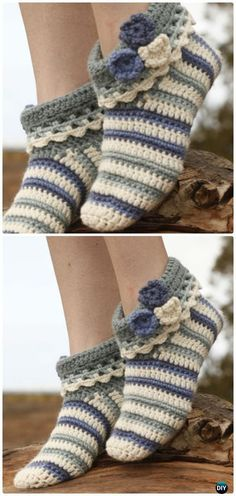 Crochet Annabelle Floral Slippers Free Pattern - Crochet Women Slippers Free Patterns
