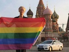 Tilda Swinton risked arrest waving a rainbow flag in front of St. Basil's Cathedral in violation of Russia's new homosexual propaganda bill. And she wants everyone who can to share it in solidarity. #Gay #LGTB