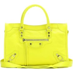 Balenciaga Classic City S Leather Tote ($1,230) ❤ liked on Polyvore featuring bags, handbags, tote bags, yellow, yellow tote bag, yellow tote, handbags totes, leather tote purse and genuine leather handbags
