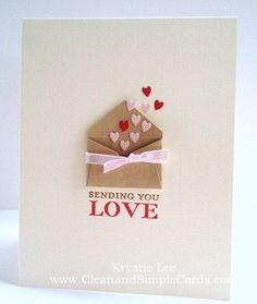 Love the tiny envelope of hearts! Valentine card with mini envelope