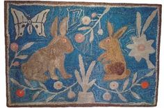 Bunnies in a Garden .antique hooked rug {great vivid color still} Antique Collectors, Rug Hooking Patterns, Manchester, Hand Hooked Rugs, Antique Show, Penny Rugs, Wool Applique, Vintage Rugs, Illustration