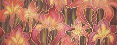 Red Irises original hand painted silk by Meikie