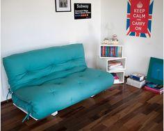 Sofá Cama Liberdade Branco com Futon Azul