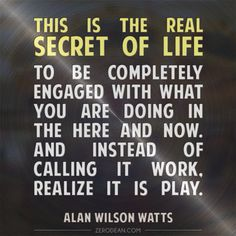 """""""This is the real secret of life -- to be completely engaged with what you are doing in the here and now. And instead of calling it work, realize it is play."""" - Alan Wilson Watts"""