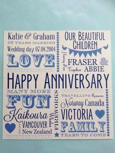 Happy Anniversary card - cornflour blue