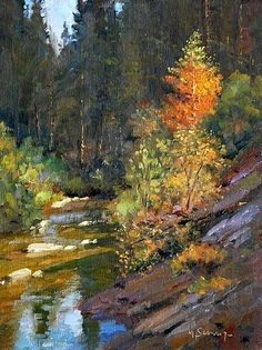 Dogwood along the Stanislaus by Michael Severin Oil ~ 12 Inches x 9 inches