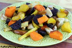 """Roasted Root Veggies...Did you know that roasted root veggies are nature's """"candy?"""" Their natural sugars slowly caramelize in the oven until just crispy on the outside yet soft on the inside- making them soooooooo incredibly sweet! Golden and red beets, parsnips, turnips, sweet potatoes, are pictured, however, don't be afraid to explore other root veggies such as carrots, rutabagas, celery root and sunchokes."""
