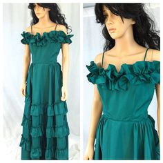 Vintage Emerald Green Gown. Ruffled Off the by NicoleNicoletta
