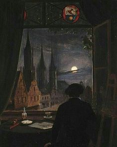 Domitor Invictus Caspar David Friedrich - An Artist In His Studio Contemplating A Moonlit Street From His Opened Window Art Noir, Art Ancien, Classical Art, Renaissance Art, Medieval Art, Nocturne, Aesthetic Art, Art Inspo, Painting & Drawing