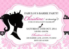 Vintage Barbie Party  INVITATION Barbie Birthday by LauPrints